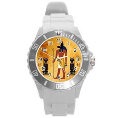 Anubis, Ancient Egyptian God Of The Dead Rituals  Round Plastic Sport Watch (L)