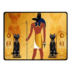 Anubis, Ancient Egyptian God Of The Dead Rituals  Double Sided Fleece Blanket (Small)