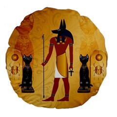 Anubis, Ancient Egyptian God Of The Dead Rituals  Large 18  Premium Flano Round Cushions