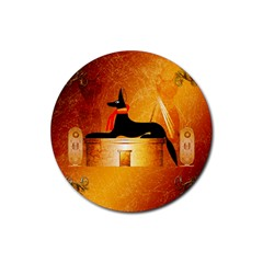 Anubis, Ancient Egyptian God Of The Dead Rituals  Rubber Coaster (Round)