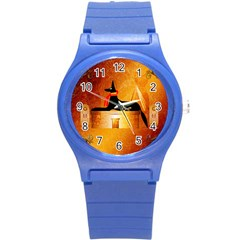 Anubis, Ancient Egyptian God Of The Dead Rituals  Round Plastic Sport Watch (S)