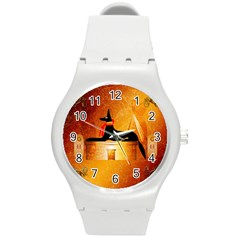 Anubis, Ancient Egyptian God Of The Dead Rituals  Round Plastic Sport Watch (M)