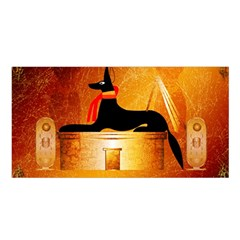 Anubis, Ancient Egyptian God Of The Dead Rituals  Satin Shawl
