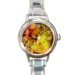 Glowing Colorful Flowers Round Italian Charm Watches