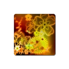 Glowing Colorful Flowers Square Magnet