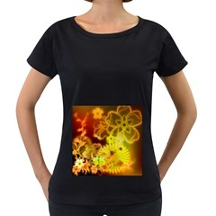 Glowing Colorful Flowers Women s Loose-Fit T-Shirt (Black)