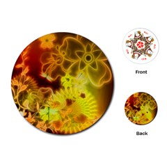 Glowing Colorful Flowers Playing Cards (round)