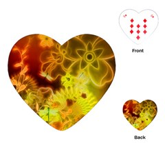 Glowing Colorful Flowers Playing Cards (Heart)