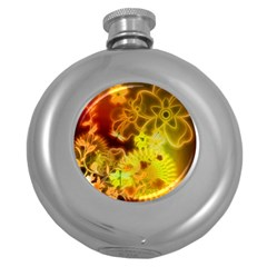 Glowing Colorful Flowers Round Hip Flask (5 Oz)