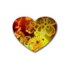 Glowing Colorful Flowers Heart Coaster (4 Pack)