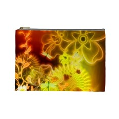 Glowing Colorful Flowers Cosmetic Bag (Large)