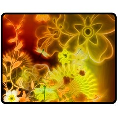Glowing Colorful Flowers Fleece Blanket (Medium)