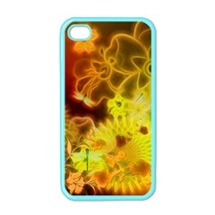 Glowing Colorful Flowers Apple iPhone 4 Case (Color)