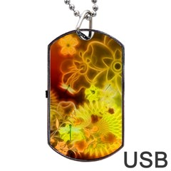Glowing Colorful Flowers Dog Tag USB Flash (Two Sides)