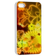 Glowing Colorful Flowers Apple iPhone 4/4s Seamless Case (White)