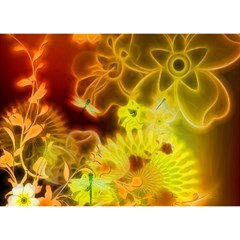 Glowing Colorful Flowers Birthday Cake 3d Greeting Card (7x5)