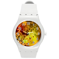 Glowing Colorful Flowers Round Plastic Sport Watch (M)