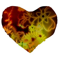 Glowing Colorful Flowers Large 19  Premium Heart Shape Cushions