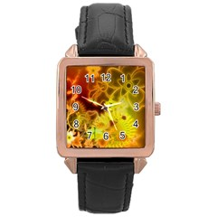 Glowing Colorful Flowers Rose Gold Watches