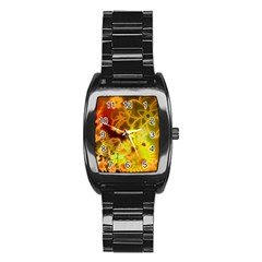 Glowing Colorful Flowers Stainless Steel Barrel Watch