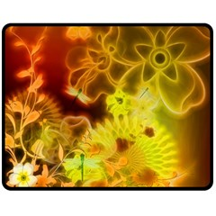 Glowing Colorful Flowers Double Sided Fleece Blanket (Medium)