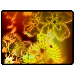 Glowing Colorful Flowers Double Sided Fleece Blanket (Large)