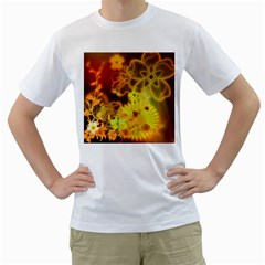 Glowing Colorful Flowers Men s T-Shirt (White)