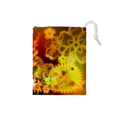 Glowing Colorful Flowers Drawstring Pouches (Small)