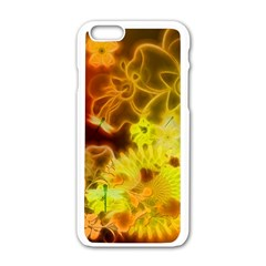 Glowing Colorful Flowers Apple Iphone 6 White Enamel Case