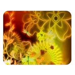 Glowing Colorful Flowers Double Sided Flano Blanket (large)