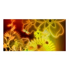 Glowing Colorful Flowers Satin Shawl
