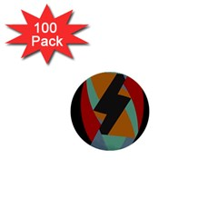 Fractal Design in Red, Soft-Turquoise, Camel on Black 1  Mini Buttons (100 pack)