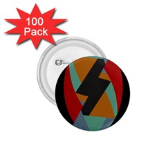 Fractal Design in Red, Soft-Turquoise, Camel on Black 1.75  Buttons (100 pack)