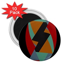 Fractal Design in Red, Soft-Turquoise, Camel on Black 2.25  Magnets (10 pack)