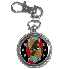Fractal Design In Red, Soft Turquoise, Camel On Black Key Chain Watches