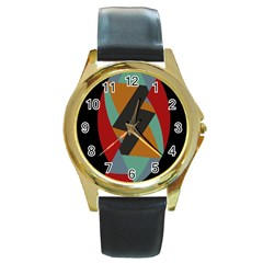 Fractal Design in Red, Soft-Turquoise, Camel on Black Round Gold Metal Watches