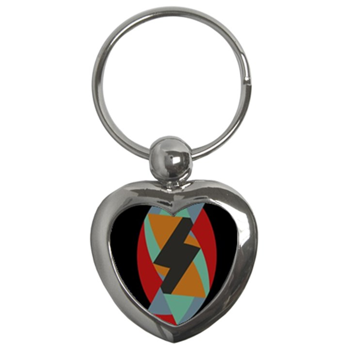 Fractal Design in Red, Soft-Turquoise, Camel on Black Key Chains (Heart)