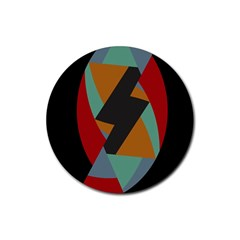 Fractal Design In Red, Soft Turquoise, Camel On Black Rubber Coaster (round)