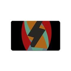 Fractal Design in Red, Soft-Turquoise, Camel on Black Magnet (Name Card)
