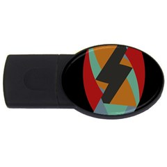 Fractal Design In Red, Soft Turquoise, Camel On Black Usb Flash Drive Oval (2 Gb)