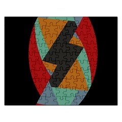 Fractal Design In Red, Soft Turquoise, Camel On Black Rectangular Jigsaw Puzzl