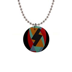 Fractal Design in Red, Soft-Turquoise, Camel on Black Button Necklaces
