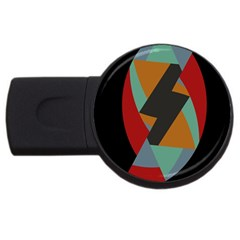 Fractal Design in Red, Soft-Turquoise, Camel on Black USB Flash Drive Round (4 GB)