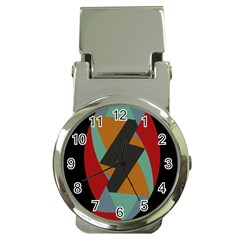 Fractal Design in Red, Soft-Turquoise, Camel on Black Money Clip Watches