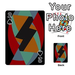 Fractal Design In Red, Soft Turquoise, Camel On Black Playing Cards 54 Designs