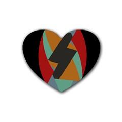 Fractal Design in Red, Soft-Turquoise, Camel on Black Rubber Coaster (Heart)