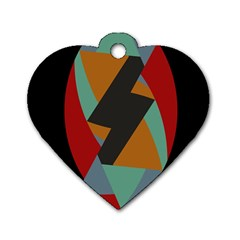 Fractal Design in Red, Soft-Turquoise, Camel on Black Dog Tag Heart (Two Sides)