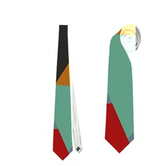Fractal Design in Red, Soft-Turquoise, Camel on Black Neckties (One Side)