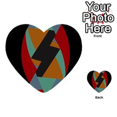Fractal Design in Red, Soft-Turquoise, Camel on Black Multi-purpose Cards (Heart)
