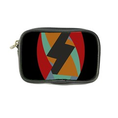 Fractal Design in Red, Soft-Turquoise, Camel on Black Coin Purse